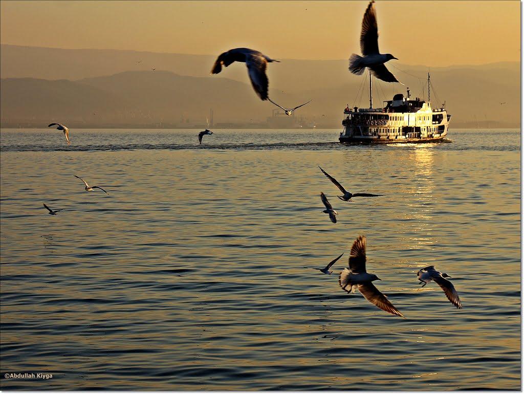 Gulf ferry at sunset in İzmit , Измит