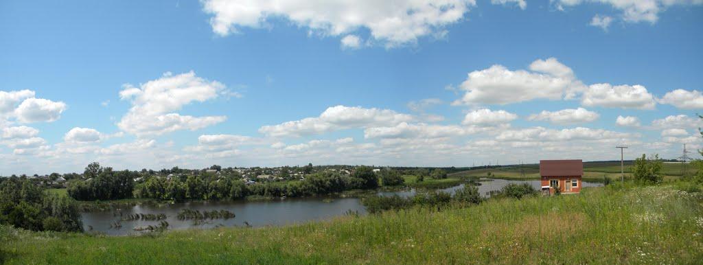 Панорама с красивым видом на речку / Panorama with a beautiful view of the river, Липовец